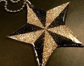 Nautical Star In Black and Silver Glitter Pendant Necklace