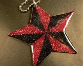 Nautical Star In Black and Red Glitter Pendant Necklace