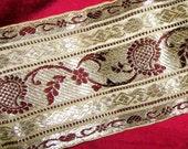 CLOSEOUT 4 yards Gorgeous Vintage Border Trim, BOHO CHIC Woven Silk/Metal thread Rare SALE
