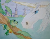 Chance Meeting, unicorn and frog blank greeting card