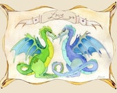 Dragon Love, blank inside note card