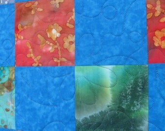 batik and blue full/queen sized quilt