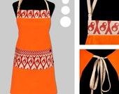 orange and red apron