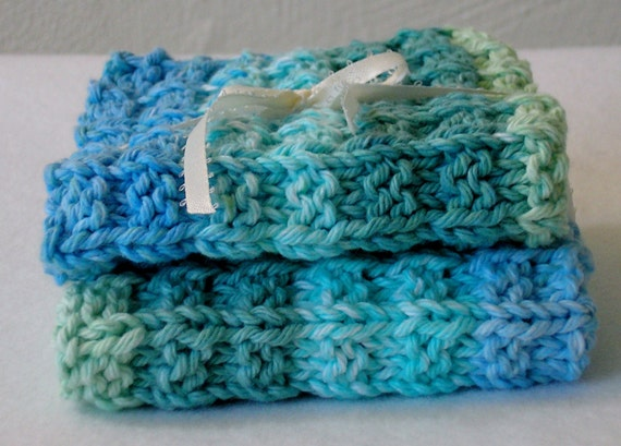 Hand Knitted Dish Cloths - Set of 2 in Blues and Greens