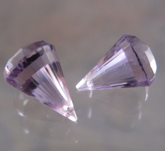 SALE - Pink Amethyst Chandelier Drops - Matched Pair  - 6.00