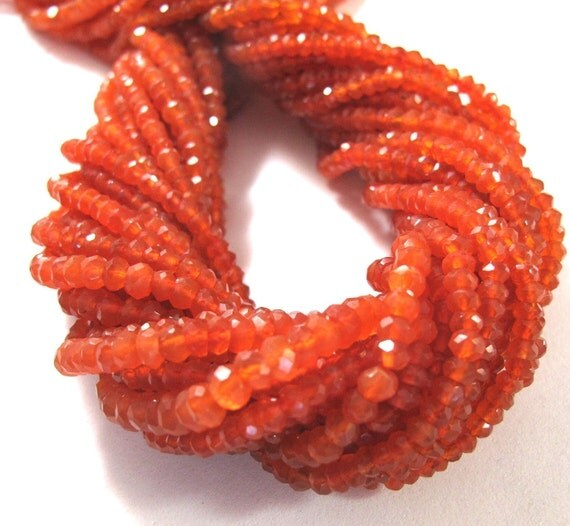 Natural Carnelian Gemstones, Rondelle Beads, Faceted, 7.5 Inch Strand, 3.2mm, Small Beads for Necklace, Jewelry Supplies (R-Ca1)