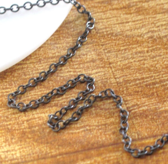 Two Feet of Dark Silver Chain, Oxidized .925 Sterling Cable Chain, 2 Feet, 2mm Cable Chain, Distressed Vintage Thin Chain for Jewelry (17s)