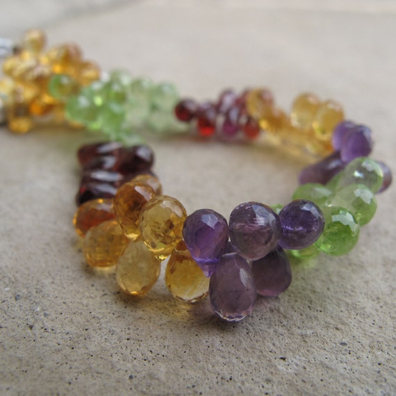 Mixed-gemstone Briolettes - Citrine - Garnet - Amethyst - Peridot - 3 Inch Strand of Natural Gemstones - (B-Mix11)