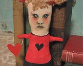 art doll Danielle , handmade, sewn stuffed and hand painted , reduced shipping ,original , ooak ,holds a heart