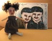 creepy vampire-  children- original painting- ooak- canvas- dark-  kids Halloween horror ... oh the horror