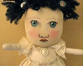 doily lace art doll- girl- rag- linen dress- shabby chic- ugly cute Alice