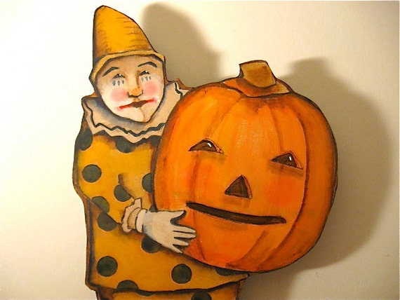 Halloween pumpkin clown original painting on cut out wood for Clown pumpkin painting