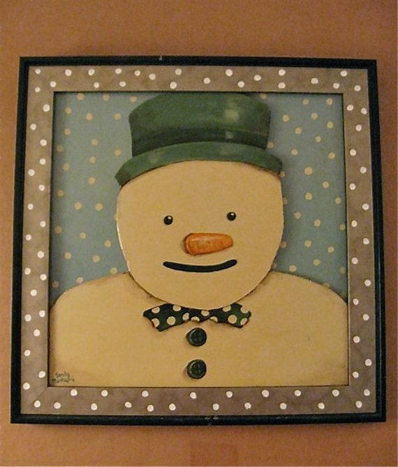 snowman folk art -painting- original- Happy Folk art- winter snow- Christmas