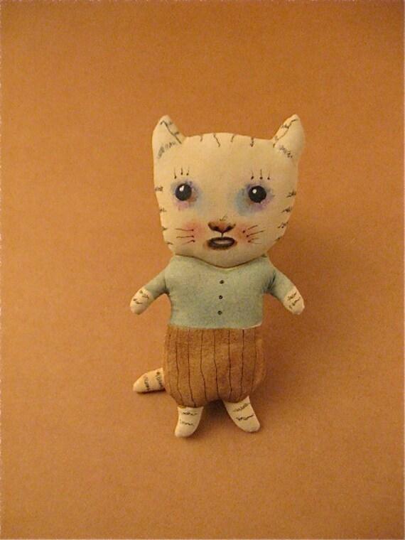 Cat Ooak Art Doll Ugly Cute Bad Boy Strange Kitty By