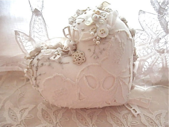 Shabby Chic Heart Pillows : heart pillow pretty creamy white shabby chic pillow