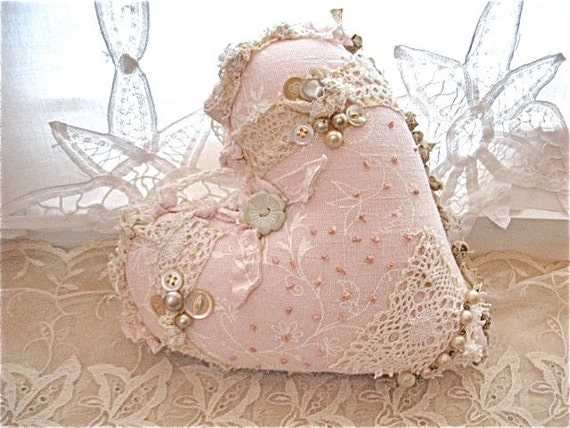 sale ......Fabric ooak heart pillow- pretty- pale pink shabby chic pillow- romantic heart pillow- fiber art- frayed edges