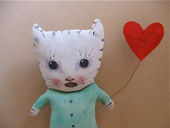 Valentine cat art doll- ooak- wall art- shelf art- ugly cute- cry baby cat- meow- red heart balloon- Barry