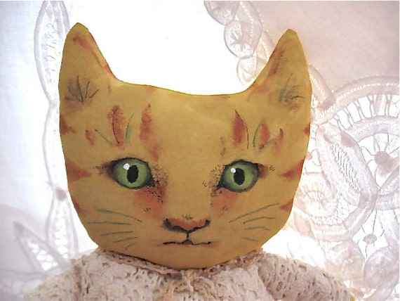 ooak cat art doll- vegetable print fabric- hand painted face-  orange stripe kitty- meow- crochet lace