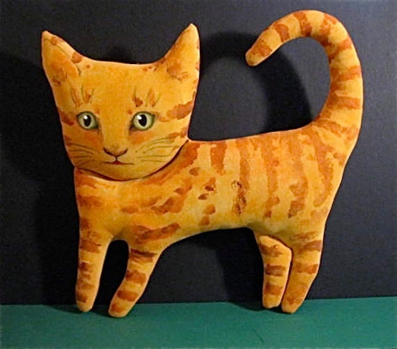 orange cat doll- ooak art doll cat- wall or shelf art- cute- good kitty- strange cat- meow- euc