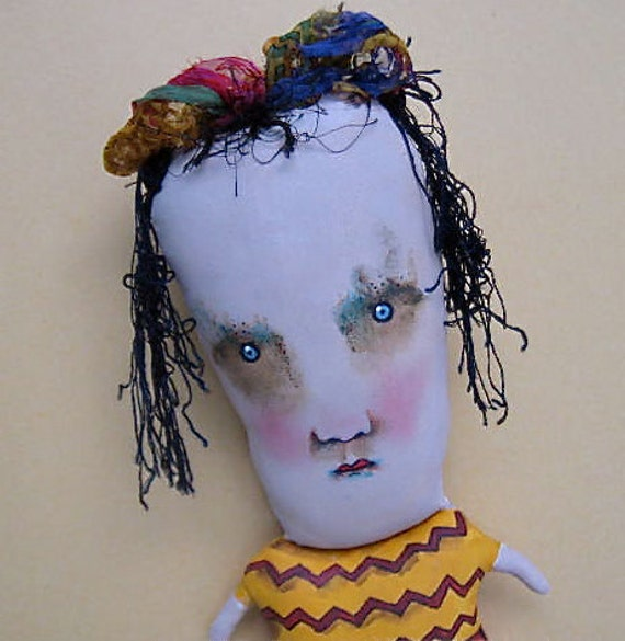 RESERVED for Nancy - weird art doll- ooak- Sweetheart Sally- handmade-  original fiber art- euc- zig zag- red black- odd doll