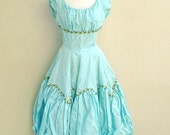 SALE 1950s dress pale Aqua puff Balloon skirt Embroidered appliques Flowers gown SALE