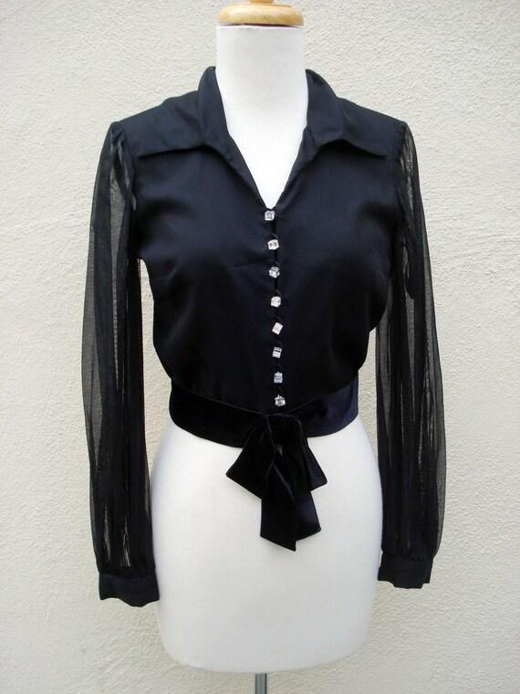 1950s Blouse Black Velvet Bow Crystal Cube Buttons