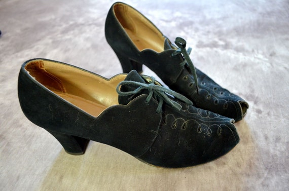 1940s Shoes Black Suede Leather Lace Up Peep Toe
