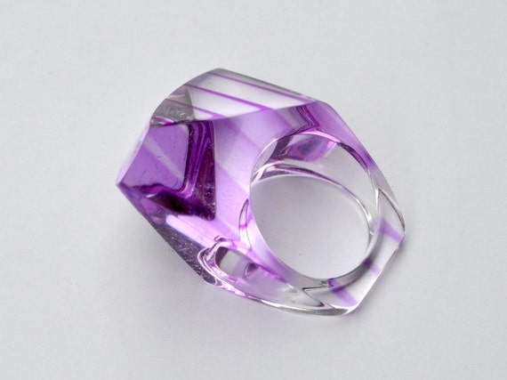 1960s Ring Lucite Purple Prism Geometric 60s Mod