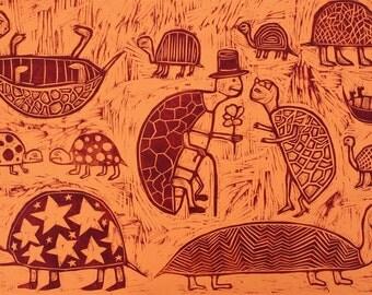 Turtles woodcut