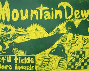 Mountain Dew Hillbilly  Woodcut