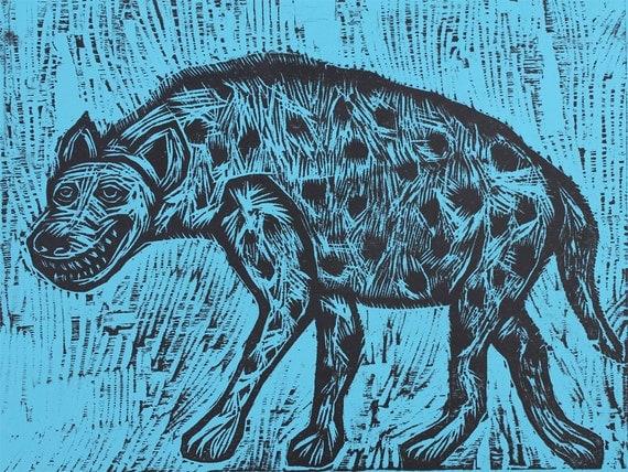 Hyena Woodcut
