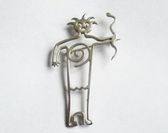 Tribal Arrow Pendant Southwest Native Pin Sterling Big signed