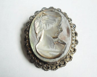 Sterling and Mother of Pearl Pendant Brooch 1940s Art Deco Thick Hand Carved