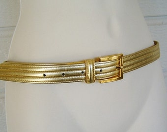 Wow 1980s gold metallic thin belt Glam Anne Klein II for Calderon medium