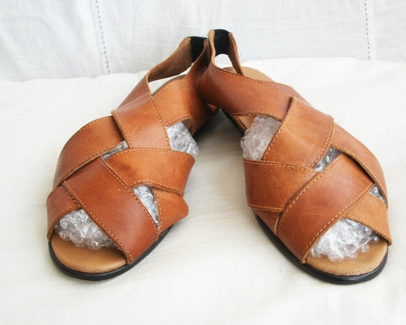 Leather Sandals vintage soft flats Caramel