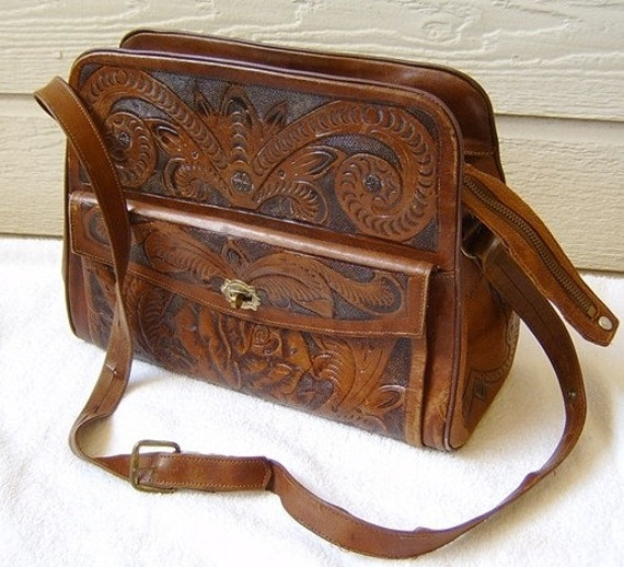 SALE Large Vintage leather Mexican Hand Tooled purse bag