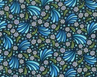 Jessica II ...Flower burst in BLUE, half yard