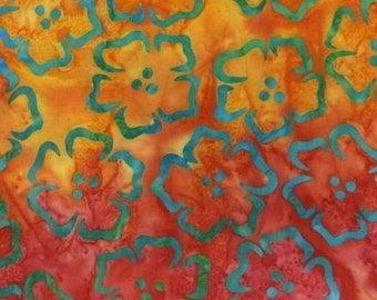 SALE  FIESTA Batik in Orange and  Yellow, LAST 41 Inches