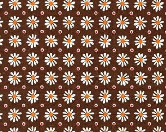 Daisies on Brown from the Daisies and Dots Collection by Robert Kaufman, yard