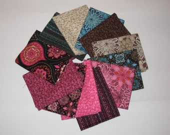 Timeless Treasures set of 12 Fat Quarters in Mauve and browns