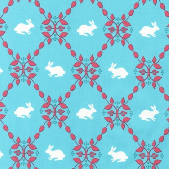 NEW Laurie Wisbrun, Modern Whimsy Bunnies Fabric in Park, yard