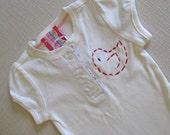 Holiday SALE Rosie Red Bird 6 to 12 month ivory button onesie