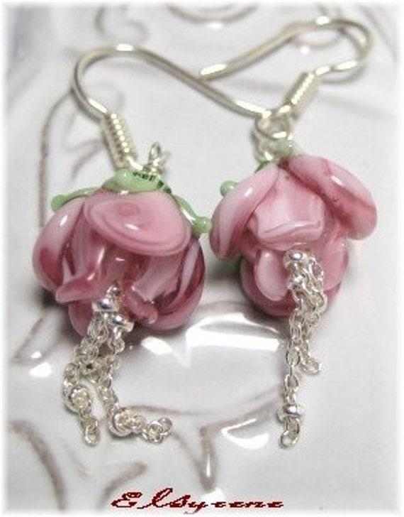 PuRe LoVe-  Handmade lampwork rose beads Earrings-Pink Roses and sterling silver Earrings -pink Blossom earrings-Romantic Jewelry