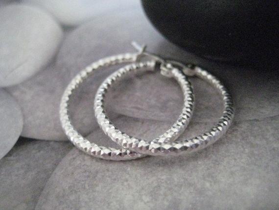 Minimalist Sterling Silver Hoop Earrings-Classic,Simple Silver Hoop snap backs Earrings-Arracadas de Plata-Texture Silver Hoop Earrings-