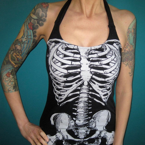 Anatomy Skeleton rib cage halter top shirt Medium by madfoxes