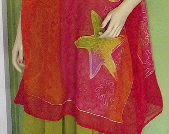 Caftan Shirt with Matching Long Tiered Gypsy Skirt SET