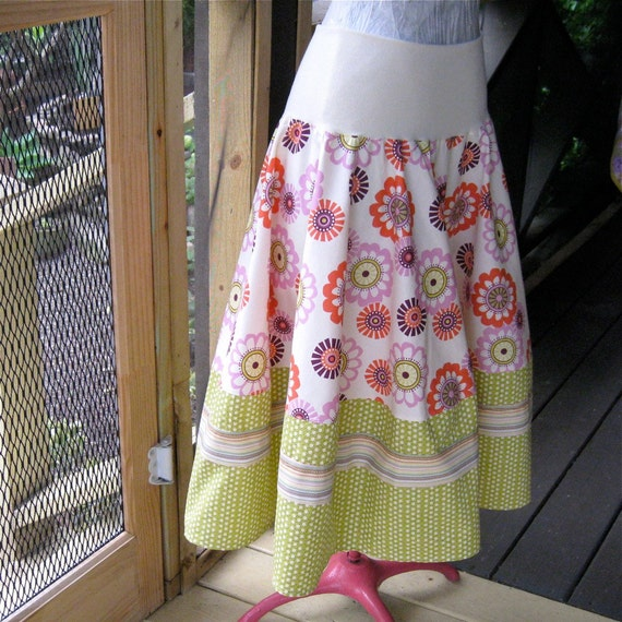Circle skirt with layered border - Chartreuse Green, Pink, and Orange