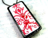 Domino Pendant - Ruby Red Damask with Glass Beads - Upcycled Altered Domino Pendant - Necklace - Jewlery