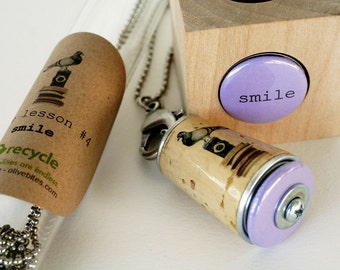 Black Friday Cyber Monday Sale Recycled Cork Necklace - Pigeon Photographer - SMILE Upcycled by Uncorked