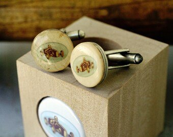 Go Kart Racing Mens Cufflinks - Go Cart Jewelry, Recycled, Cork Wood Block, Groom, Groomsmen, Best Man, Antique Silver Tone - Uncorked
